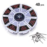 FEIGO 48 Stück Fertigcoil Widerstandsdraht Coil Set Vorkompilierte Coil Kit 8 in 1 Widerstandsdraht mit 0.36ohm 0.45ohm 0.5ohm 0.85ohm für RDA, RBA, RDTA, Fused Clapton Coil, Twisted, Hive, Quad