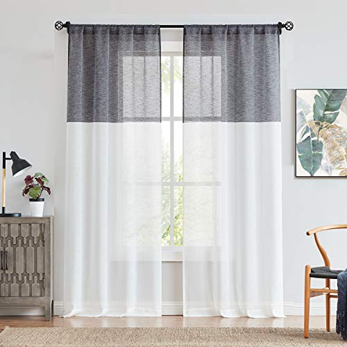 Central Park Black and White Stripe Sheer Color Block Window Curtain Panel Linen Drape Treatment for Bedroom Living Room Farmhouse 84 inches Long with Rod Pocket,2 Panel Rustic Living Panels