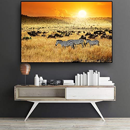 Canvas volwassen kinderen kinderen olieverfschilderijAfrican Zebra Sunset Abstract Lscape ScinavianVerjaardag bruiloft nieuwe accommodatie decoraties geschenken