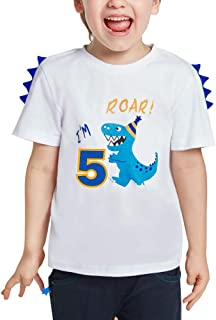 AMZTM 5th Birthday Dinosaur Tee - Dino Themed B-Day Party 5 Year Old Boy T-Shirt