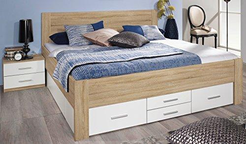 Rauch Bett mit 6 Schubkästen Eiche Sonoma/alpinweiß 140 x 200 cm Schubladenbett Funktionsbett