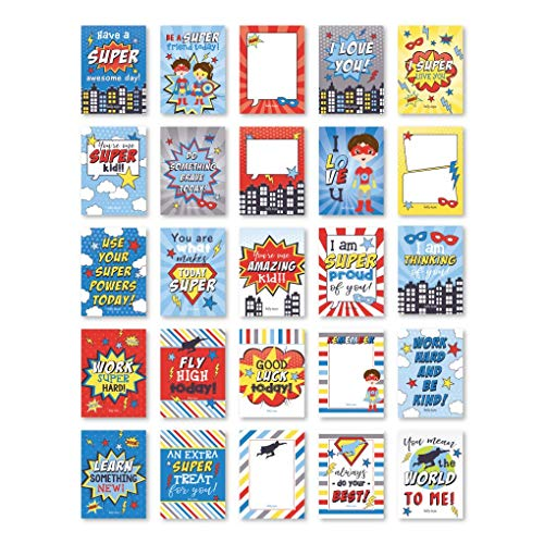 25 Superhero School Lunch Box Notes For Kids, Inspirational Motivational Cards For Boys Girls From Mom, Encouraging Notes for Student Children Teens, Thinking of You Positive Affirmations Lol Fun Love