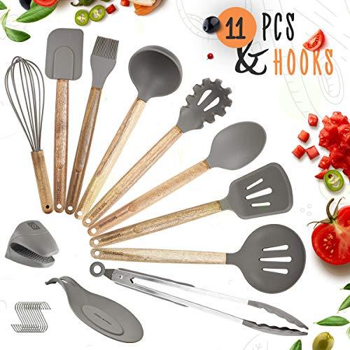 2020 Utensili da cucina in silicone e legno, guanto da forno, poggia cucchiaio, spatola, cucchiaio, mestolo, frusta, pinza per spaghetti, misura e ganci - 11 pezzi