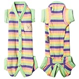 TONY HOBY Female/Male Pet Clothes Dog Colorful Stripe Pajama 4 Legged Puppy Stretchable Jumpsuit Doggies Knit Clothes Dog Spring and Summer Onesie for Small Medium Size Dog Green(XS, Green-Girls)