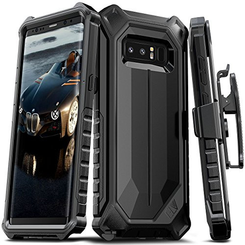 E LV Holster for Samsung Galaxy Note 8 Case, Belt Clip Rugged Case with Kickstand for Samsung Galaxy Note 8 (Black)