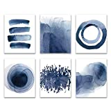 Wall Art Prints 8X10 UNFRAMED Abstract Blue Watercolor Paintings for Bedroom Living Room Kitchen Bathroom Dining Room Home Decor Accents Home Decorations Set of 6