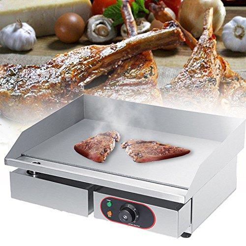 GOTOTOP Plancha Eléctrica de Acero Inoxidable para Encimera Parrilla Comercial y Profesional para BBQ Placa Caliente para Asar Freír Huevos Carne Filete Pasteles Hamburguesas