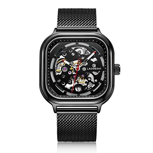 Armbanduhren,Vollautomatische Mechanische Uhr Trendige Herrenuhr Mit Großem Quadratischem Zifferblatt Und Schwarzem Netzarmband