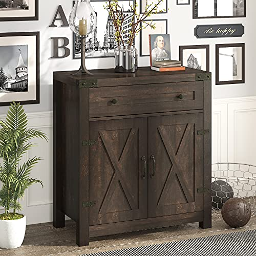 Amolife 30'' Entryway Wood Accent Cabinet for Living Room/Dining Room/Bathroom,Buffet Sideboard with Drawers and Barn Doors, Dark Brown