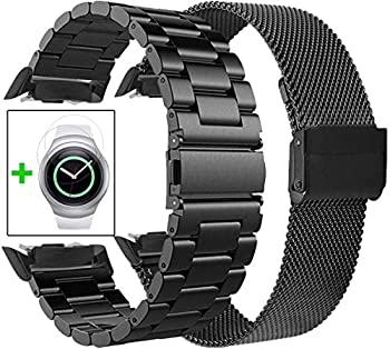 Koreda Compatible with Samsung Gear S2 Bands Sets 2 Pack Stainless Steel Metal Band + Mesh Loop Replacement Bracelet Strap for Gear S2 Sport Smart Watch SM-R720/R730  2 Pack Black