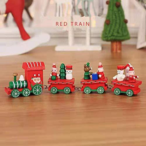 Huangchao Tren de madera de Navidad Regalo innovador para niños con Papá Noel, Oso de Navidad, Decoración de Navidad Año Nuevo regalo rojo