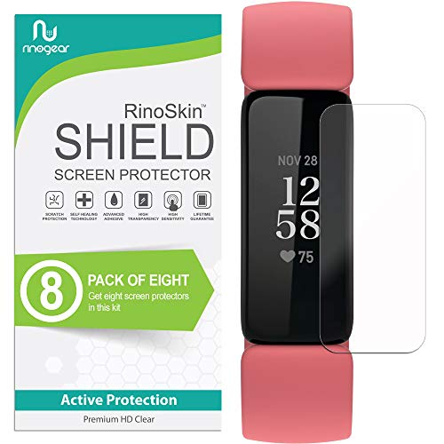 (8-Pack) RinoGear Screen Protector for Fitbit Inspire 2 Case Friendly Fitbit Inspire 2 Screen Protector Accessory Clear Film