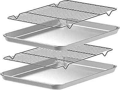 CEKEE Baking Pans and Cookie Sheets Set, 4pcs(2 Pans+2 Racks) Stainless Steel Nonstick Bakeware Half Sheet Pan Jelly Roll Pan?18 Inch?