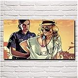SDGW Grand Theft Auto V Wall Art Painting Game Posters and Prints GTA 5 Dormitorio Sala De Estar Decoración del Hogar Imágenes-60X100Cm Sin Marco
