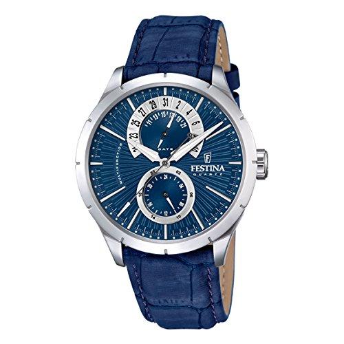 Festina Herren Analog Quarz Uhr mit Leder Armband F16573/A