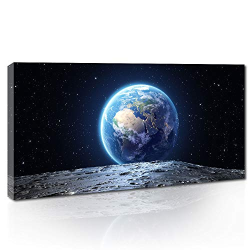 Canvas Wall Art Space Blue Earth View from The Moon Surface Canvas Print...