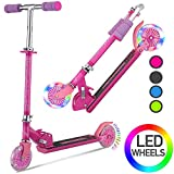DaddyChild Folding Kick Scooter for Kids 2 Wheel Scooter for Girls Boys, 3 Adjustable Height, PU LED Light Up Wheels for Children 3 Years and up, 110lb Weight Capacity