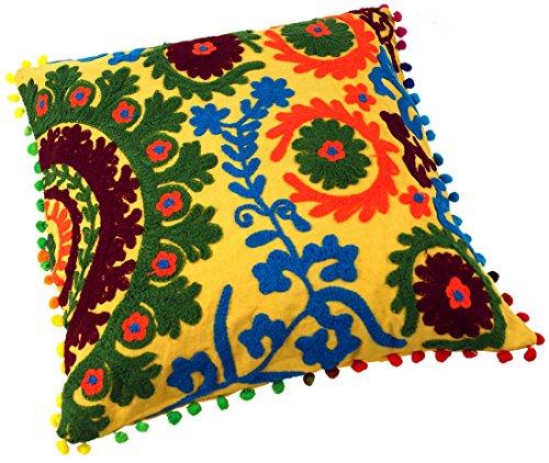Guru-Shop Funda de Cojín con Motivo étnico, Cojín Folclórico Bordado - Amarillo Dorado, Algodón, 40x40 cm, Cojín Decorativo Cojín de Sofá