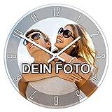PhotoFancy - Uhr mit Foto Bedrucken - Runde Fotouhr aus Kunststoff - Wanduhr mit...