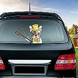 MIYSNEIRN Rear Window Wiper Decal Animal Cute Hat Gentleman Shar Pei dog Waving Wiper Arms 3D Funny Cartoon Festive for Car Bumper Sticker Waterproof Wiper Vinyl Decal for Vehicle Rear Wipers Decor