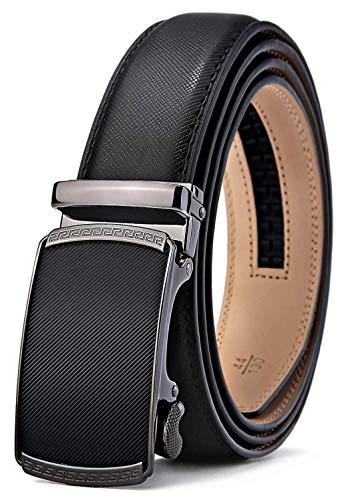 BULLIANT Gürtel Herren,Leder Automatik Gürtel für Männer Kleidung, Größe Angepasst, 027-schwarz184, 130cm/36-44taille verstellbar