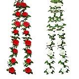 Yue QIN Ghirlanda di Rosa Artificiali Finte Rose Fiori Ghirlanda in Seta,Artificiali Rose Rampicanti Decorative Piante per La Festa Nozze Casa Arco Decorazione(Bianco e Rosso)