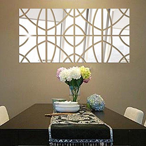 iYmitz ☯ Miroir 3D Rectangle Vinyle Amovible Mur Autocollant Decal Home Decor Art Bricolage 14 Pcs