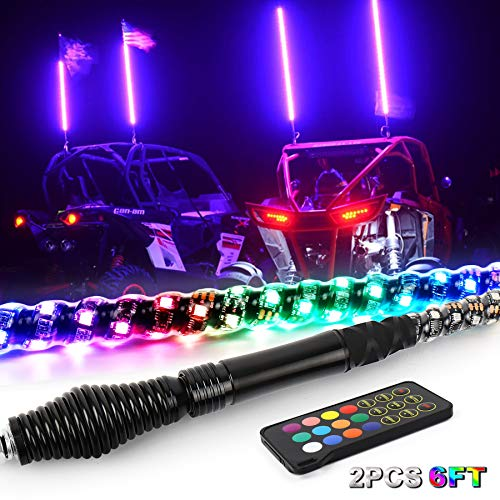 LED Whip Lights, 6FT Upgrade Spring Base Whip Antenna for UTV ATV RZR Can Am Truck, 360°Spiral Dancing Chasing Lighted Whip with RF Remote Control American Flag (2 PCS)