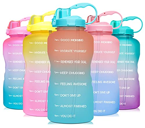 Venture Pal Large 1 Gallon 128 OZ (When Full) Motivational BPA Free Leakproof Water Bottle with Straw & Time Marker Perfect for Fitness Gym Camping Outdoor Sports-Orange Green Gradient
