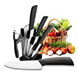 Ceramic Knife Set, MomHiu Five Piece 6' Chef Knife, 5' Utility Knife, 4' Fruit Knife, 3' Paring Knife, 1'' Vegetable Fruit Peeler, Kitchen Chef Knife Sharp Set