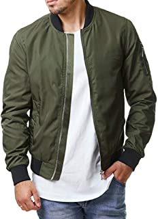 Enjoybuy Mens Lightweight Bomber Jackets Fall Winter Outerwear Full Zip Up Baseball Varsity Jacket