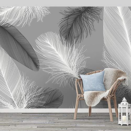 Papel Pintado Pared Plumas Blancas Y Negras De Estilo Nórdico 350X256Cm Fotomural Para Pared Fotomural Para Paredes Mural No-Trenzado Decorativo Decoración Comedores, Salones, Habitaciones