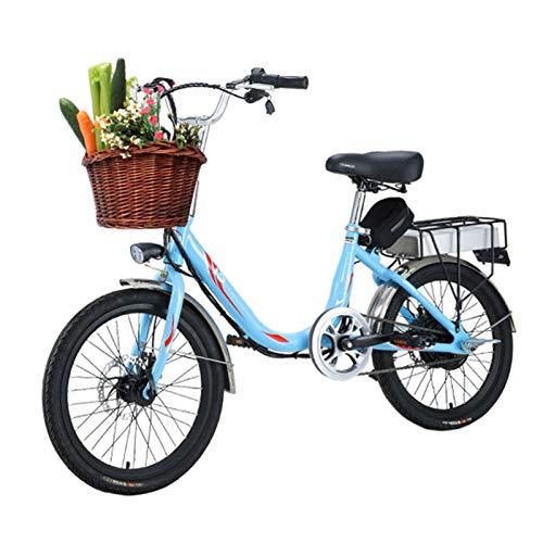HWOEK Damen E-Bike, 20 Zoll Elektrofahrrad 300W Motor mit 48V 10Ah Lithium-Batterie mit Fahrradkorb Geeignet für Frauen mit Einer Körpergröße von 155-180 cm,Blau