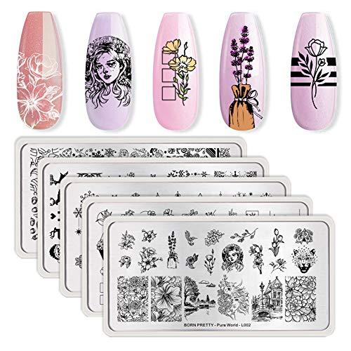 BORN PRETTY Flower Art Snowflake Nail Stamping Plates Nail Art DIY Rectangle Stamp Template Bundle Set 5 Pcs