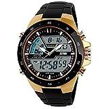 SKMEI Reloj de hombre digital analógico alarma 30 impermeable hombre militar multifuncional relojes de pulsera (oro)