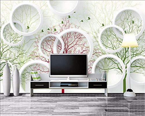 Wnyun 3D-Fototapete, Seidenstoff, Premium-Tapete, Wandbild, Wanddekoration, Kunst-Design, HD-Druck, modern, TV-Hintergrund, runder Spiegel, abstrakter Baum, 140 x 100 cm
