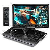 MYDASH Lecteur DVD Portable 12,5 pour Voiture et Enfants, 2021 Nouveau Lecteur CD Portable avec écran pivotant de 10,1 Pouces, Fente pour Carte SD et Port USB,Noir