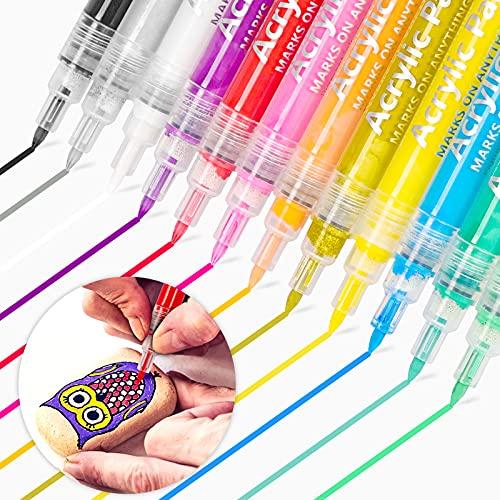 Dapzon Rotuladores Acrilicos, 12 colores Prima Rotuladores Permanentes, Impermeable Rotuladores de Pintura Acrílica para Cerámica, Piedra, Madera, Vidrio, Lienzo, Taza, Metal, Punta Fina de 0,7mm