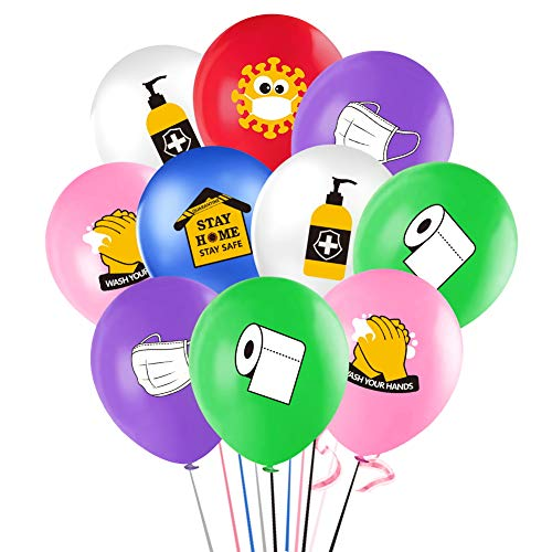 Quarantine Balloons, 12'Quarantine Theme Latex Balloon for Kids Baby Shower Birthday Party Supplies Decorations (30Pcs)