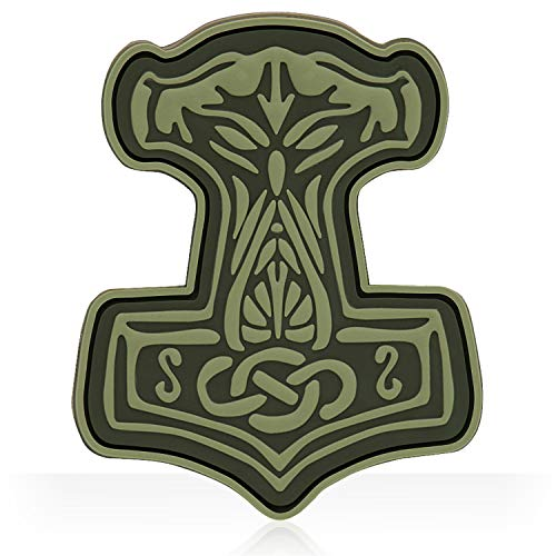 Mjolnir Viking 3D PVC Morale patches Military & Tactical Army Morale Patch Velcro (Olive)
