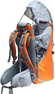 Baby Toddler Hiking Backpack Carrier Camping Child Carriers with Rain Cover Stand Child Kid Sun shade Visor Shield ,Holds up to 50 Pound Ideal for Children Between 6 months-4 years Old (A-orange)