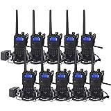 Retevis RT5 2-Way Radios UHF VHF Radio Adults Walkie Talkies Long Range VOX FM Emergency Two Way Radio with Earpiece (10 Pack,Black)