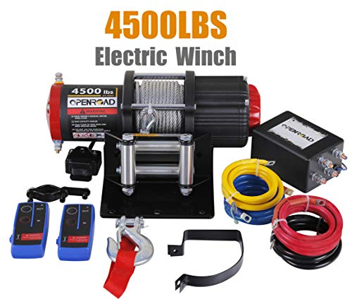 OPENROAD 4500 Lb UTV/ATV Winch,12V Electric Winch with 49ft Cable,Wireless Winch Kit for SUV (2pcs Handle Wireless Remote Control and Removable Control Box)