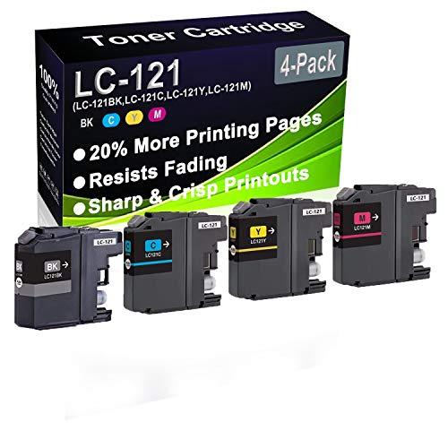 Paquete de 4 cartuchos de tinta (BK+C+Y+M) remanufacturados DCP-J132W DCP-J152W (alta capacidad) para uso de repuesto para Brother LC-121 LC121 (LC-121BK LC-121C LC-121Y LC-121M)