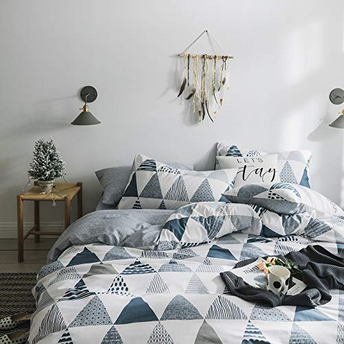 VCLIFE Cotton Bedding Sets Twin Children Duvet Cover Sets Reversible Gray Triangle Geometric Print...