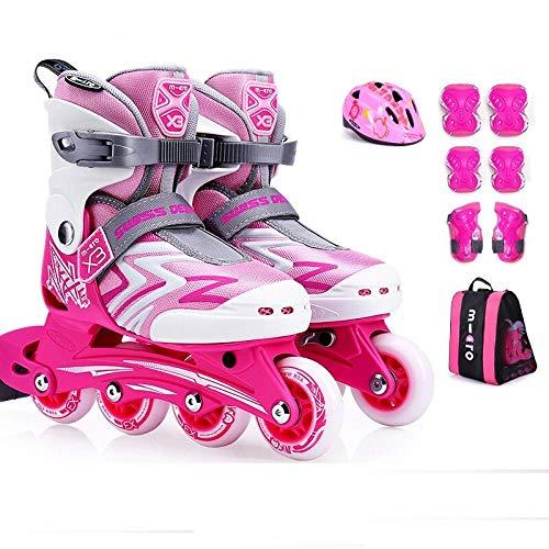 Best Review Of SSLLPPAA Skate Children's Full Set of Roller Skates Adjustable Inline Roller Skates P...