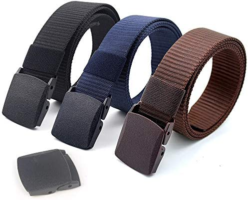 Coobbar 3 Pack Nylon Canvas Belt Plastic Buckle Belt Travel Adjustable Nylon Web Slide Belt product image