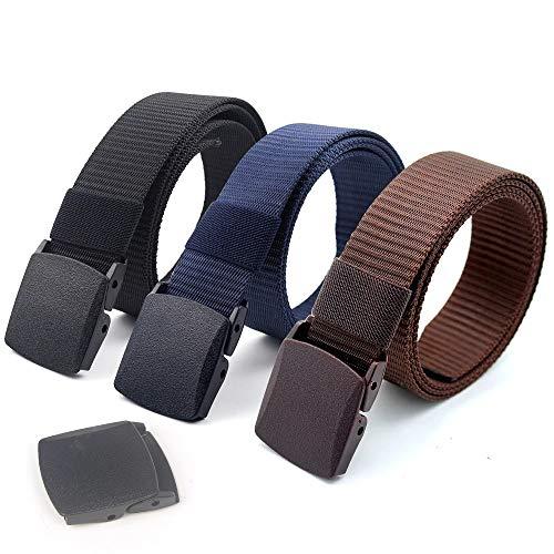 Coobbar 3-Pack Nylon Canvas Belt Plastic Buckle Belt Travel Adjustable Nylon Web Slide Belt (Dark)