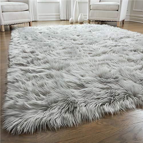 Gorilla Grip Thick Fluffy Faux Fur Washable Rug, Shag Carpet Rugs for Baby Nursery Room, Bedroom, Luxury Home Decor, Soft Floor Plush Carpets, Durable Rubber Backing, Rectangle, 3x5, Light Gray