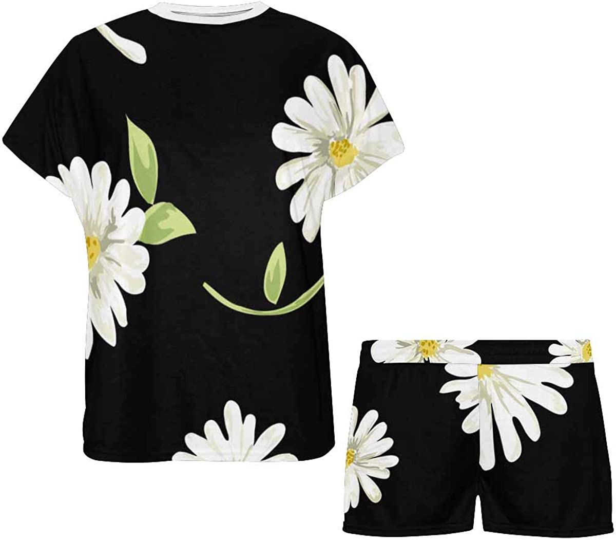 InterestPrint Daisy Garden Print on Black Women's Lightweight Pajama Set, Short Summer Pjs